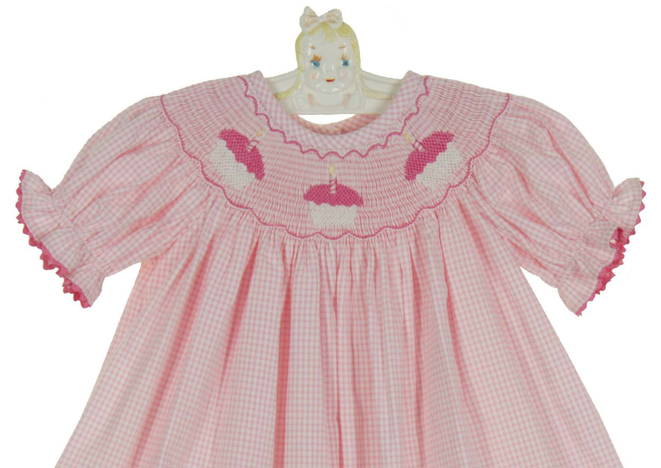 b46e8a4e4513d NEW Precious Kids Pink Checked Cotton Smocked Bishop Dress with Cupcakes  Embroidery