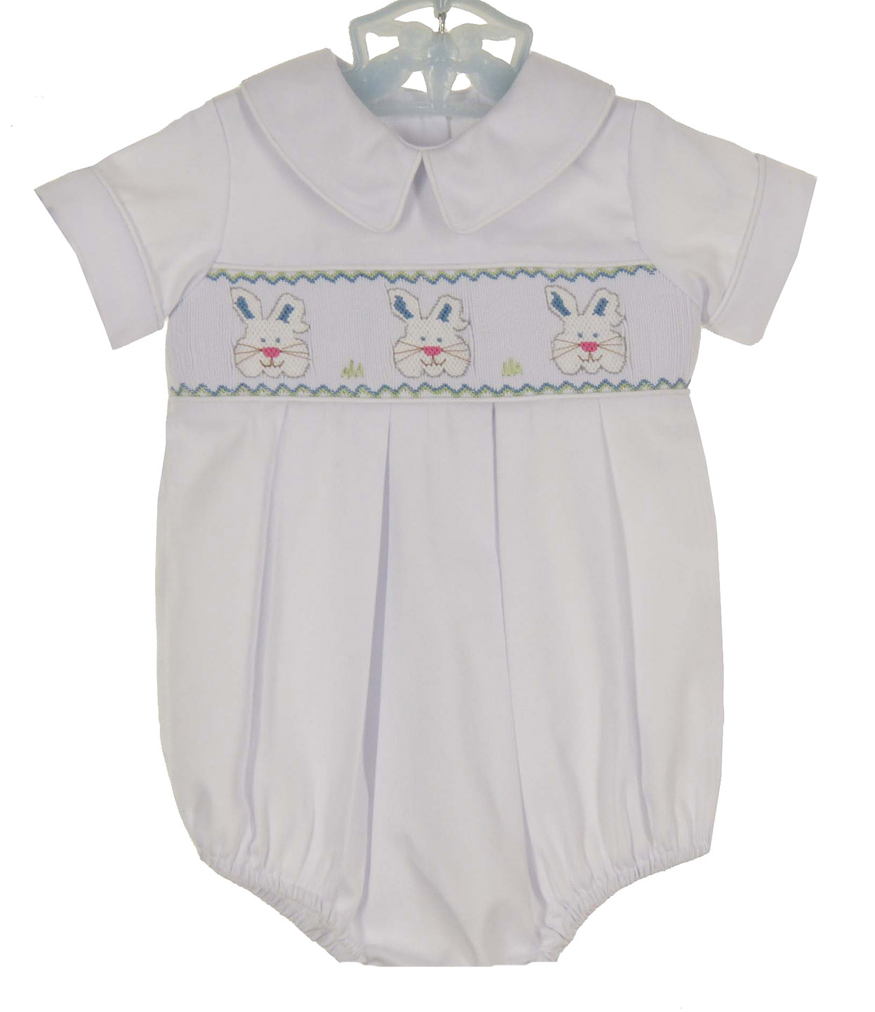 ac832cc95530 NEW Precious Kids White Smocked Romper with Blue and White Bunnies