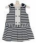 NEW Rare Editions Dark Navy Striped Cotton Sailor Dress with Pleated Skirt and Matching Diaper Cover