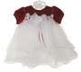 NEW Rare Editions Red Velvet and White Organdy Dress with Venice Lace Trim