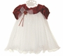 NEW Rare Editions Red Velvet Dress with Tulle Dotted Skirt