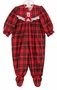 NEW Red Plaid Footed Pajamas for Baby Girls