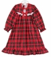 NEW Red Plaid Gown with White Eyelet Trim (Round Yoke) For Babies, Little Girls and Big Girls