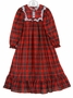 NEW Red Plaid Gown with White Eyelet Trim (Square Yoke) For Toddlers, Little Girls and Big Girls