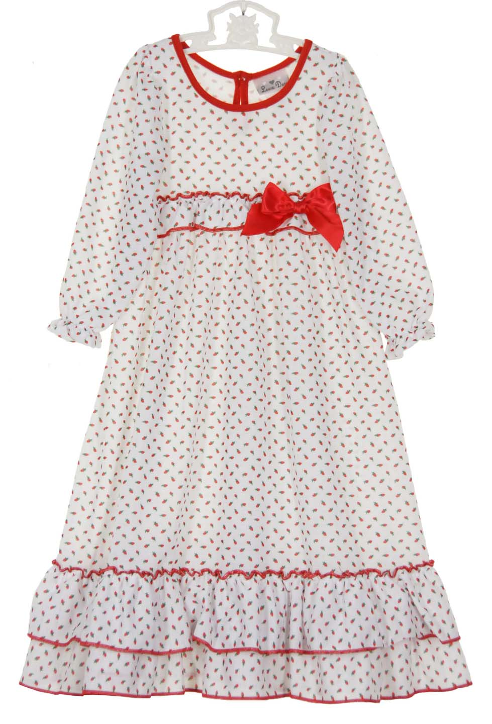 Red Rosebud Print Nightgown for Babies, Toddlers, and Girls