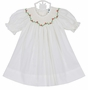 NEW Remember Nguyen (Remember When) Antique White Bishop Smocked Dress with Holiday Embroidery and Matching Bloomers