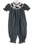 NEW Remember Nguyen (Remember When) Blue Plaid Long Bubble with Scottie Dog Smocking