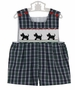 NEW Remember Nguyen (Remember When) Blue Plaid Shortall with Scottie Dog Smocking
