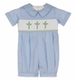 "<img src=""https://p11.secure.hostingprod.com/@grammies-attic.com/ssl/images/blue-sold-1.gif""> NEW Remember Nguyen (Remember When) Blue Smocked Romper with Cross Embroidery"