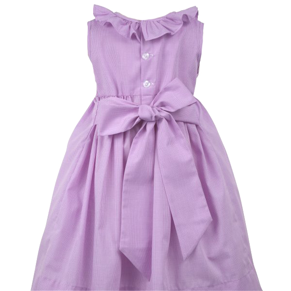 Remember Nguyen Lavender Checked Smocked Dress With Yellow