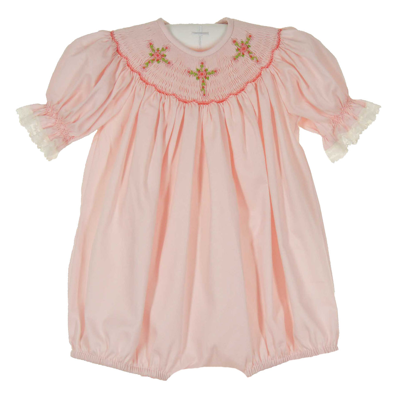 Remember Nguyen Pink Smocked Bubble With Cross Embroidery
