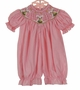 NEW Remember Nguyen (Remember When) Pink Striped Bubble with Easter Bunny Embroidery