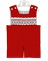 NEW Remember Nguyen (Remember When) Red Corduroy Shortall with Holiday Smocking