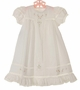 NEW Remember Nguyen (Remember When) White Cotton Heirloom Style Dress with Lace Insertion and Pink embroidery