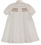 NEW Remember Nguyen (Remember When) White Cotton Smocked Daygown with Red and Green Embroidery