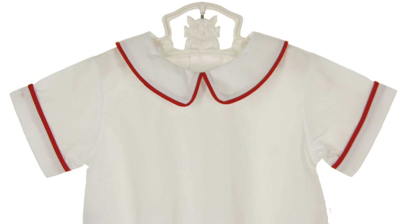 Remember Nguyen boys white short sleeved shirt with red piping and ...