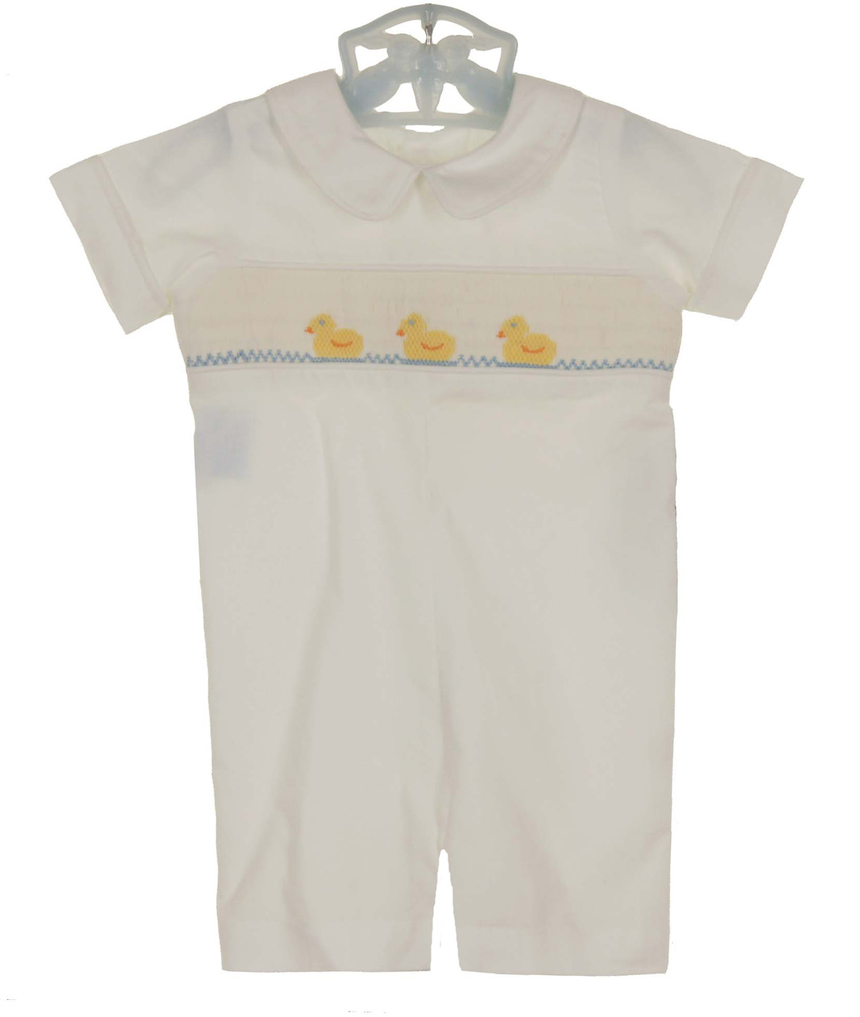 d3e172be6 NEW Remember Nguyen (Remember When) White Cotton Smocked Romper with Duck  Embroidery