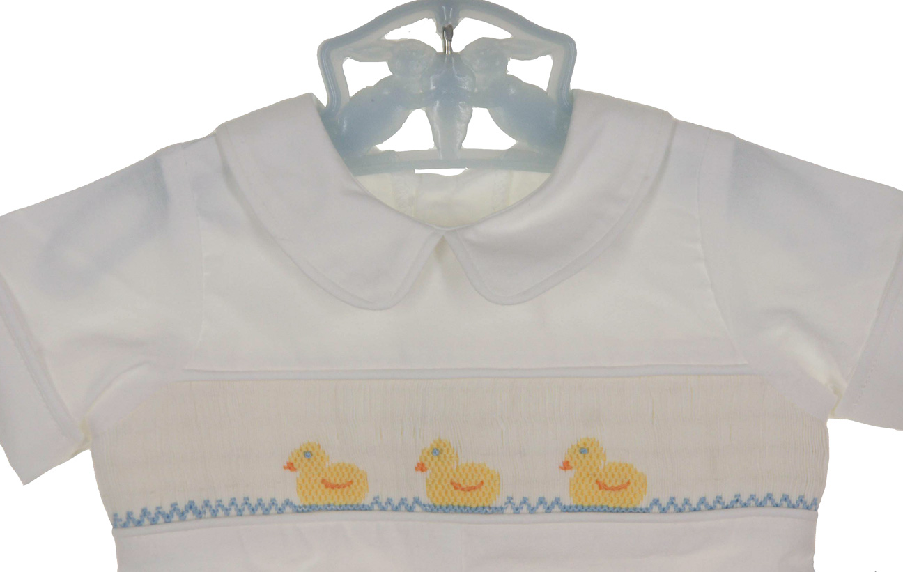 5e3df1500ac6 NEW Remember Nguyen (Remember When) White Cotton Smocked Romper with Duck  Embroidery