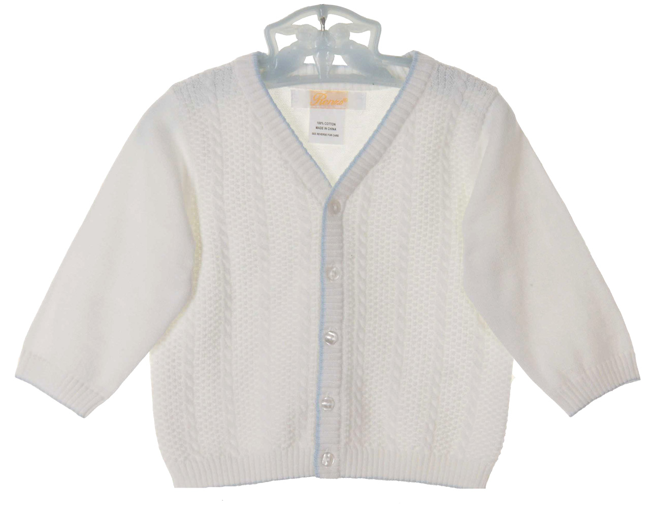 Renzo white cotton knit cardigan sweater with blue trim,baby boys ...