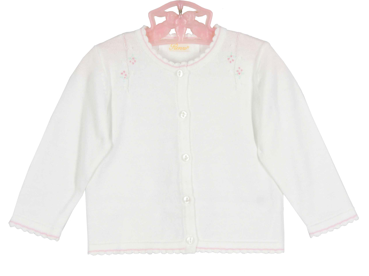Renzo white cotton knit cardigan sweater with pink flowers,baby ...