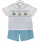 NEW Rosalina Aqua Checked Shorts with White Smocked Birthday Shirt