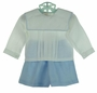 NEW Rosalina Blue and White Linen Shorts Set with Portrait Collar