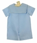 NEW Rosalina Blue Linen Shortall with Embroidered Portrait Collar