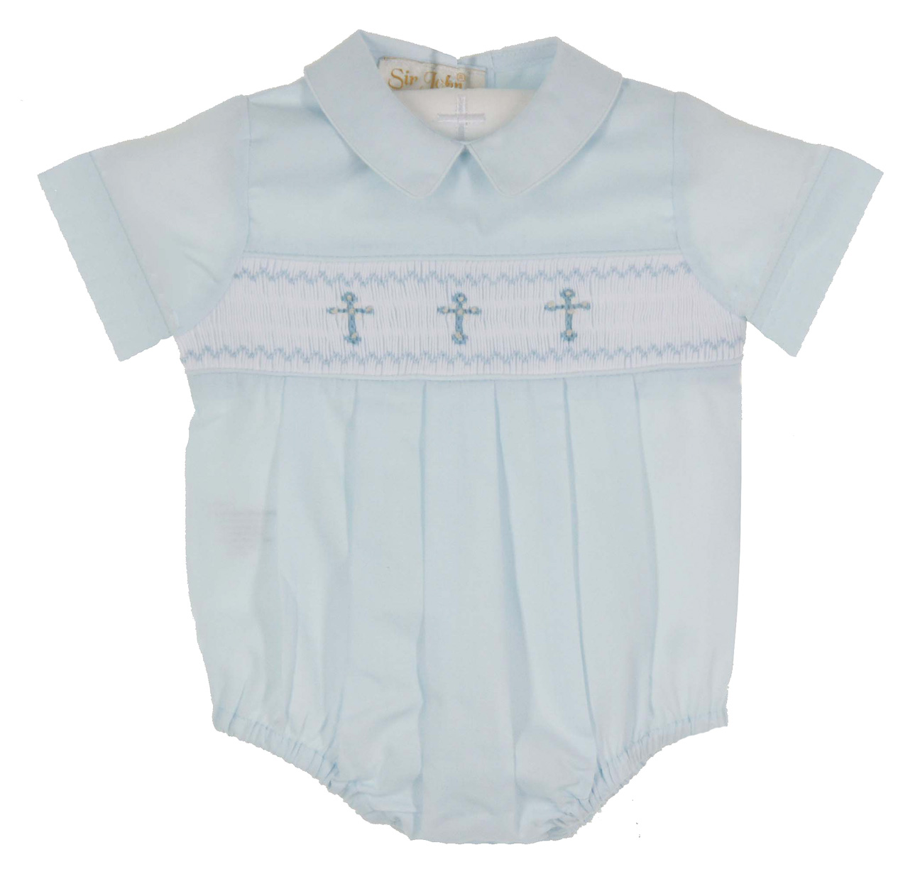 e70a722f916c Rosalina blue smocked romper with cross embroidery