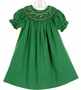 NEW Rosalina Green Bishop Smocked Dress with Candy Cane Embroidery