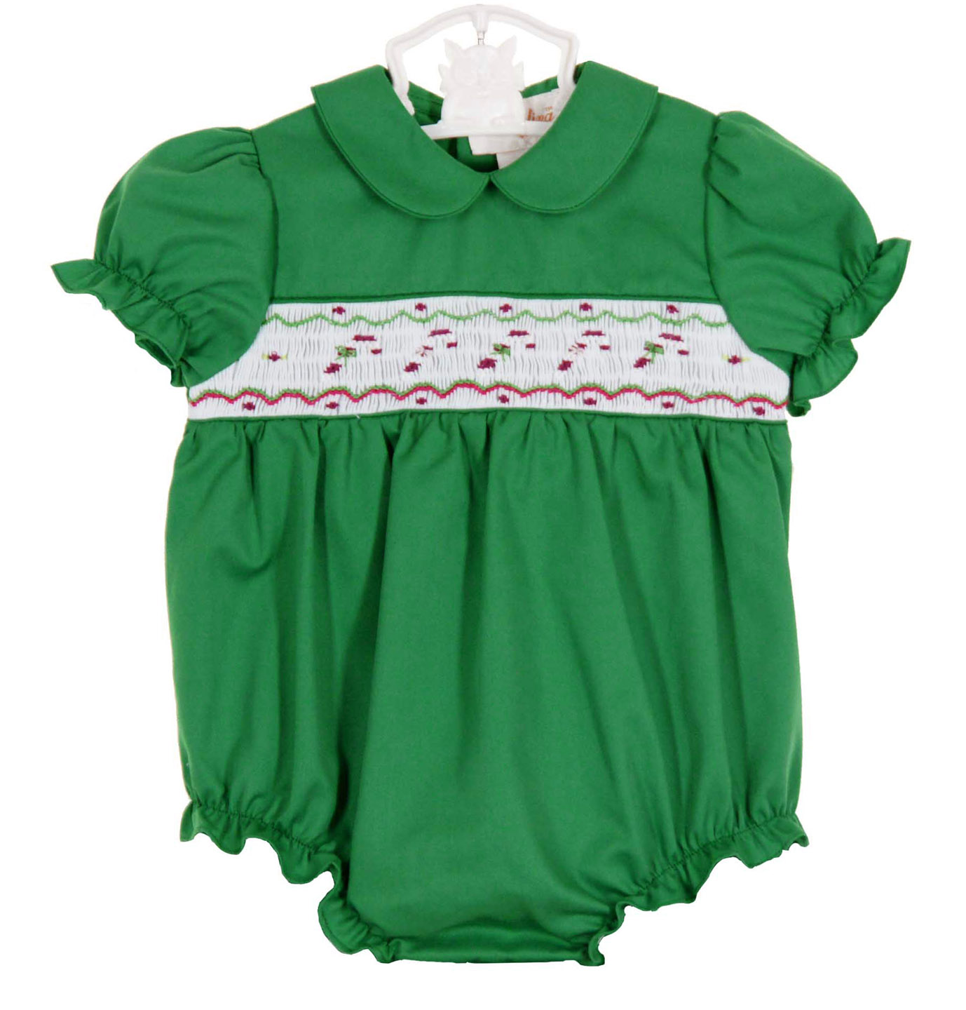 Rosalina Green Bishop Smocked Bubble With Candy Cane