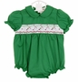 NEW Rosalina Green Smocked Bubble with Candy Cane Embroidery