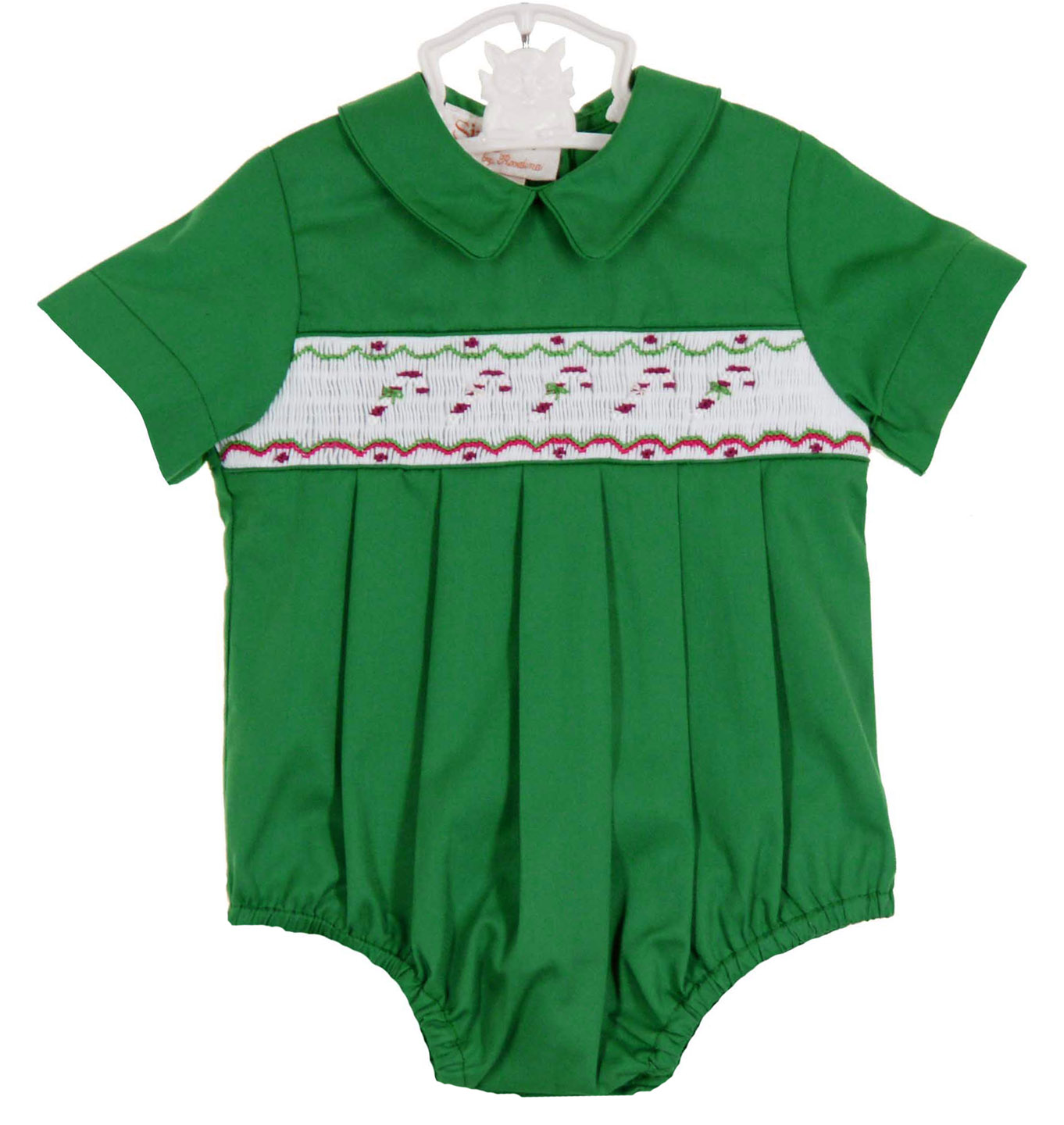 ebd00ee118a0 Rosalina green bishop smocked romper with candy cane embroidery