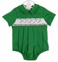 NEW Rosalina Green Smocked Romper with Candy Cane Embroidery