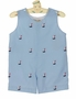 NEW Rosalina Light Blue Shortall with Embroidered Sailboats and Back Tabs