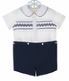 NEW Rosalina Navy and White Smocked Button On Shorts Set