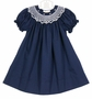 NEW Rosalina Navy Bishop Smocked Dress with Pink Embroidered Rosebuds