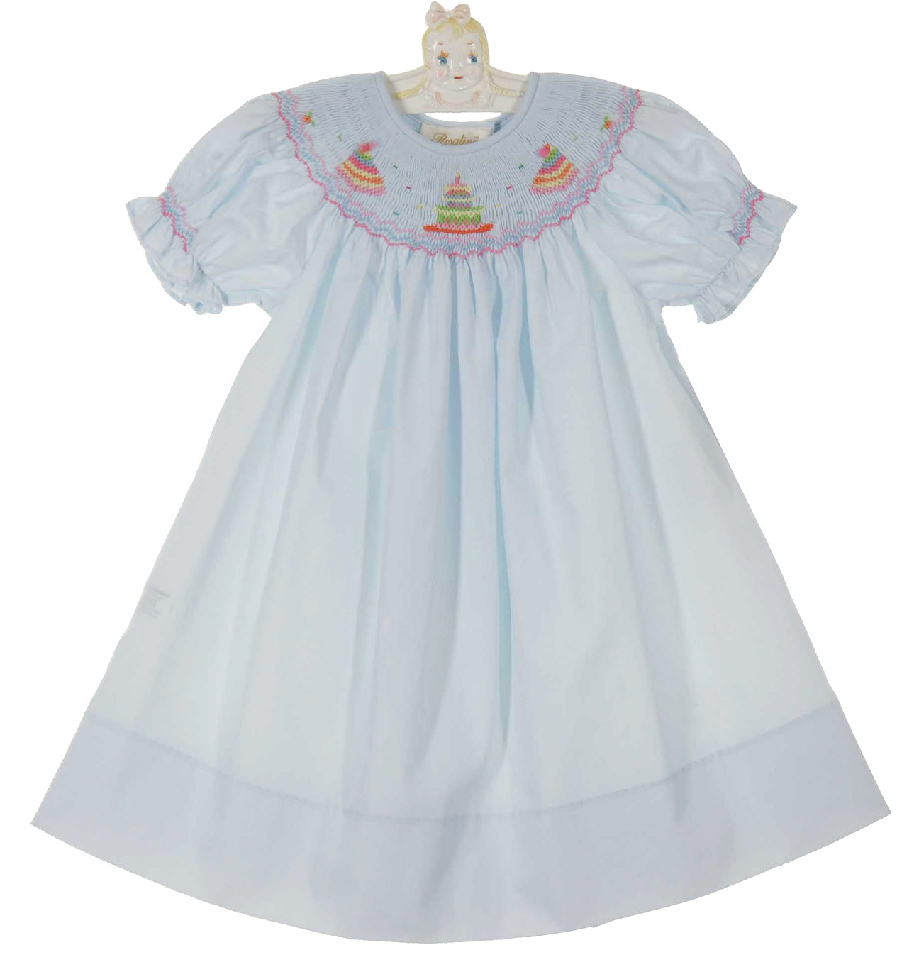 Rosalina pale blue bishop smocked birthday dress,blue smocked ...
