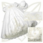 NEW Rosalina Pale Ivory Cotton Christening Gown with Elaborate Ivory Embroidery and Openwork and Matching Bonnet