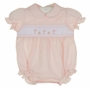 NEW Rosalina Pink Smocked Bubble with Cross Embroidery