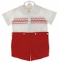 NEW Rosalina Red and White Smocked Button On Shorts Set