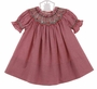 NEW Rosalina Red Checked Bishop Smocked Dress with Embroidered Rosebuds