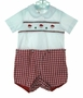 "<img src=""https://p11.secure.hostingprod.com/@grammies-attic.com/ssl/images/blue-sold-1.gif""> NEW Rosalina Red Checked Smocked Button On Shorts Set with Santa Embroidery"