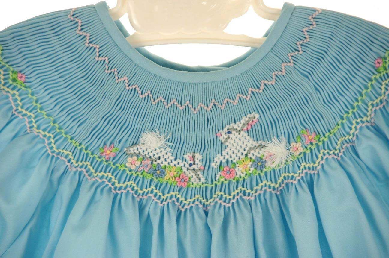 f3d6890acf6 NEW Rosalina Robins Egg Blue Bishop Smocked Dress with Bunny Embroidery