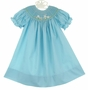NEW Rosalina Robins Egg Blue Bishop Smocked Dress with Bunny Embroidery