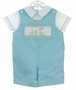 "<img src=""https://p11.secure.hostingprod.com/@grammies-attic.com/ssl/images/blue-sold-1.gif""> NEW Rosalina Robins Egg Blue Shortall and Shirt Set with Smocking and Bunny Embroidery"