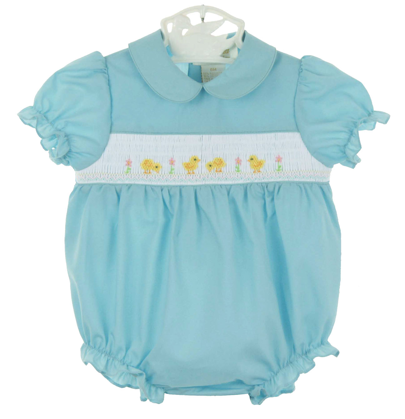 56c6520a4f3 NEW Rosalina Robins Egg Blue Smocked Bubble with Peeps Embroidery