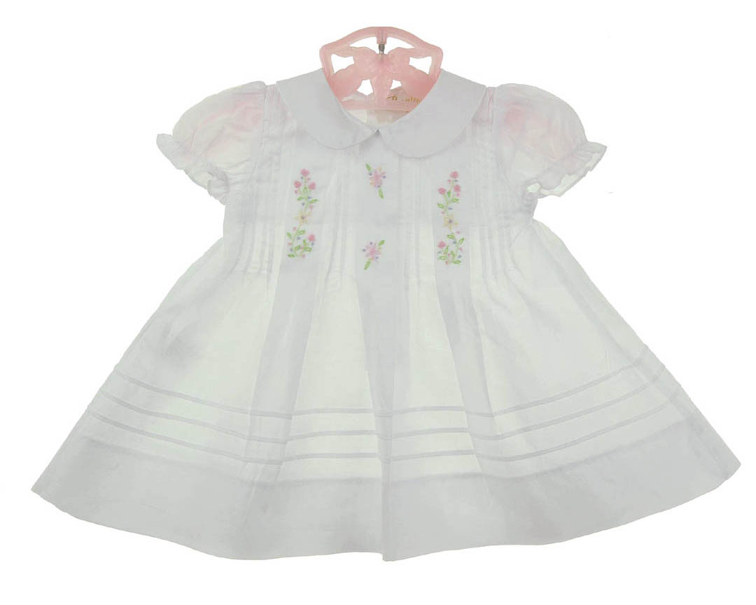 2f016444b NEW Rosalina Vintage Style White Pintucked Cotton Dress with Pastel  Embroidered Flowers