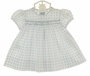 NEW Rosalina Vintage Style White Smocked Dress with Blue Dots and Embroidered Rosebuds
