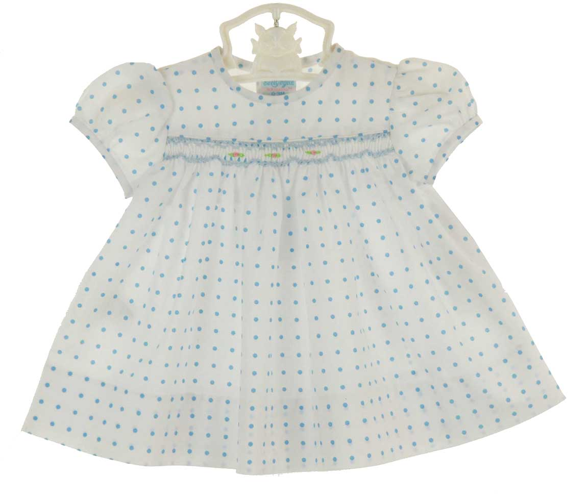 19c9579b73d NEW Rosalina Vintage Style White Smocked Dress with Blue Dots and  Embroidered Rosebuds