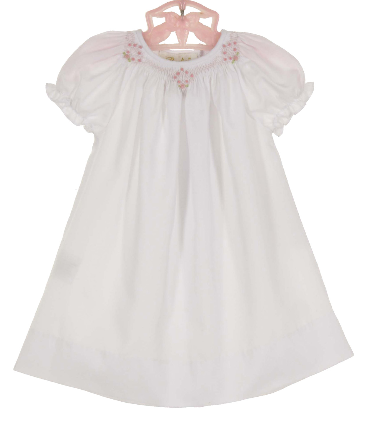 b434699fd Rosalina white bishop smocked daygown with pink embroidered rosebuds ...
